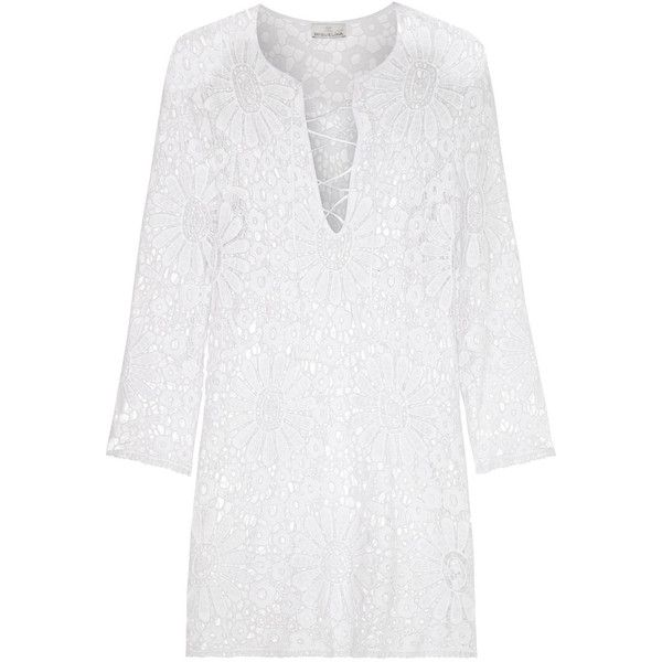 Miguelina Darcie macramé lace coverup ($236) ❤ liked on Polyvore featuring swimwear, cover-ups, dresses, swimsuit, tops, white, lace swim cover up, white bathing suit cover up, white swim cover up and swimsuit cover up