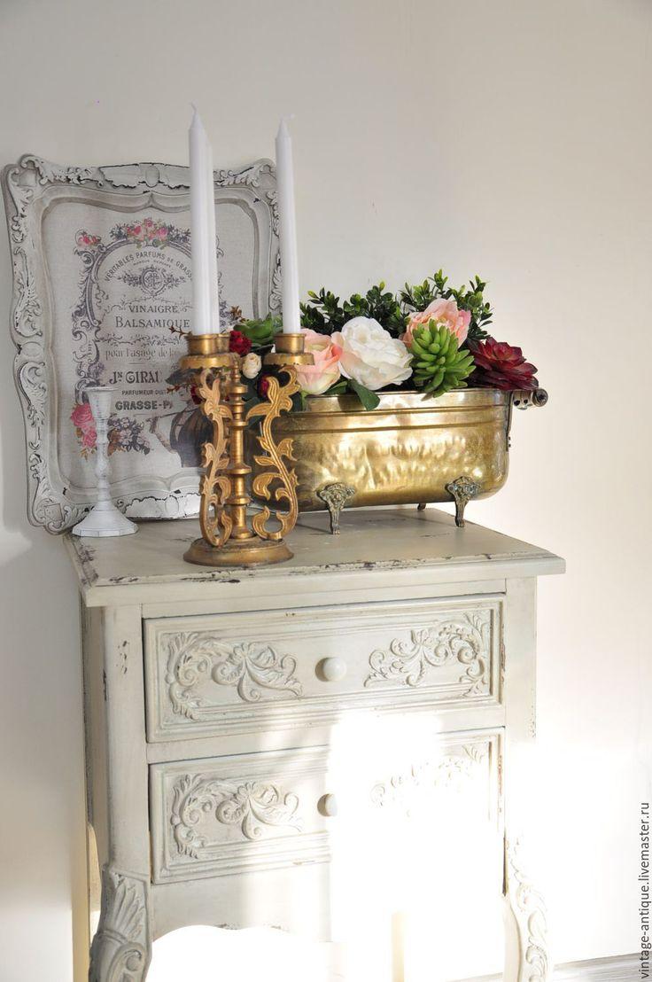 Купить Винтажный подсвечник под бронзу на 3 свечи металл с резным узором - старинный подсвечник