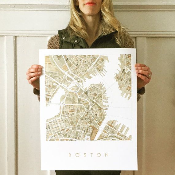 BOSTON Map Watercolor Print City Block Plan Art Print