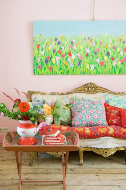 "These colourful pillows are from our feature ""Flower Power"""