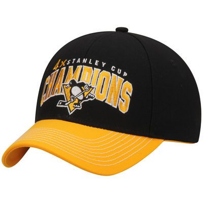 Men's Reebok Black/Gold Pittsburgh Penguins 4-Time Stanley Cup Champions Structured Adjustable Hat
