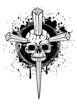 tatouage gothique: illustration poing coins du crâne en bois