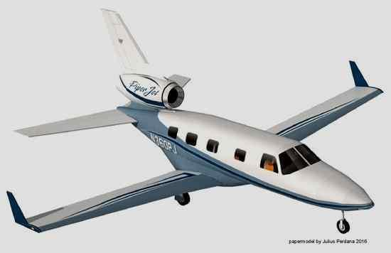 Occupying six sheets of paper and measuring 40 cm or 16 inches wingspan , this Piper PA-47 PiperJet in 1/33 scale  was created by  Indone...