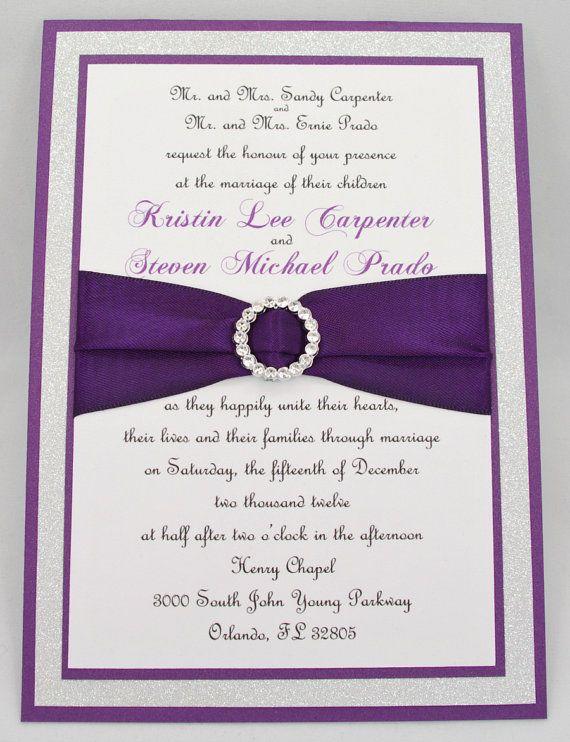 purple wedding invitations with rhinestones - 28 images - custom ...