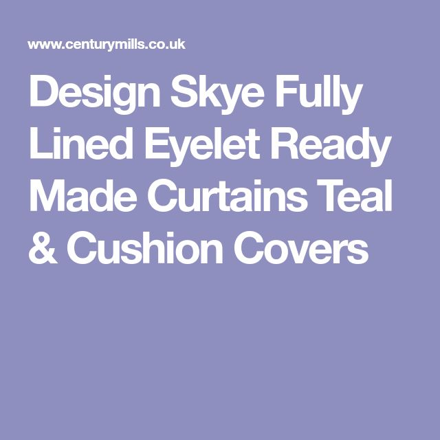 Design Skye Fully Lined Eyelet Ready Made Curtains Teal & Cushion Covers