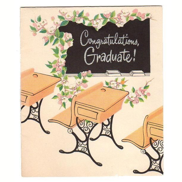 Vintage 1950s Congratulations Graduate Card School Desks and Blackboard Used