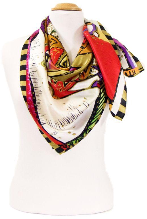 Foulard en soie satin rouge soleil premium 90 x 90 cm. Découvrez + de 100 c7137aa177e