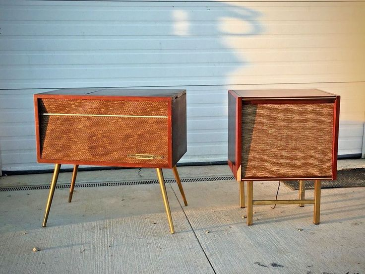 Vintage RCA Victor Mid Century Modern Turntable Record Player Speaker Cabinets #RCAVICTOR