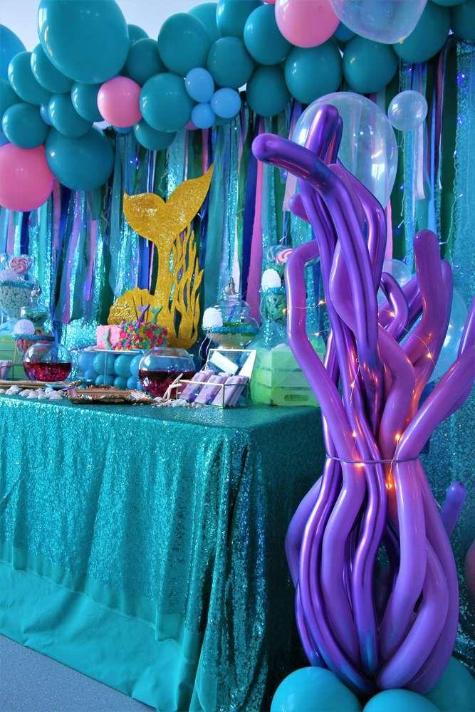 Mermaid Birthday Party Ideas Photo 17 Of 23 Mermaid Party Decorations Mermaid Theme Birthday Party Mermaid Birthday Party