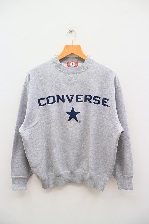 2326d21f34dca Vintage CONVERSE All Star Big Logo Streetswear Gray Sweater ...