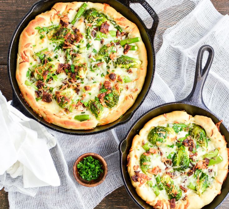 This spring vegetable white skillet pizza is the perfect Friday night dinner recipe and highlights the fresh flavors of spring!
