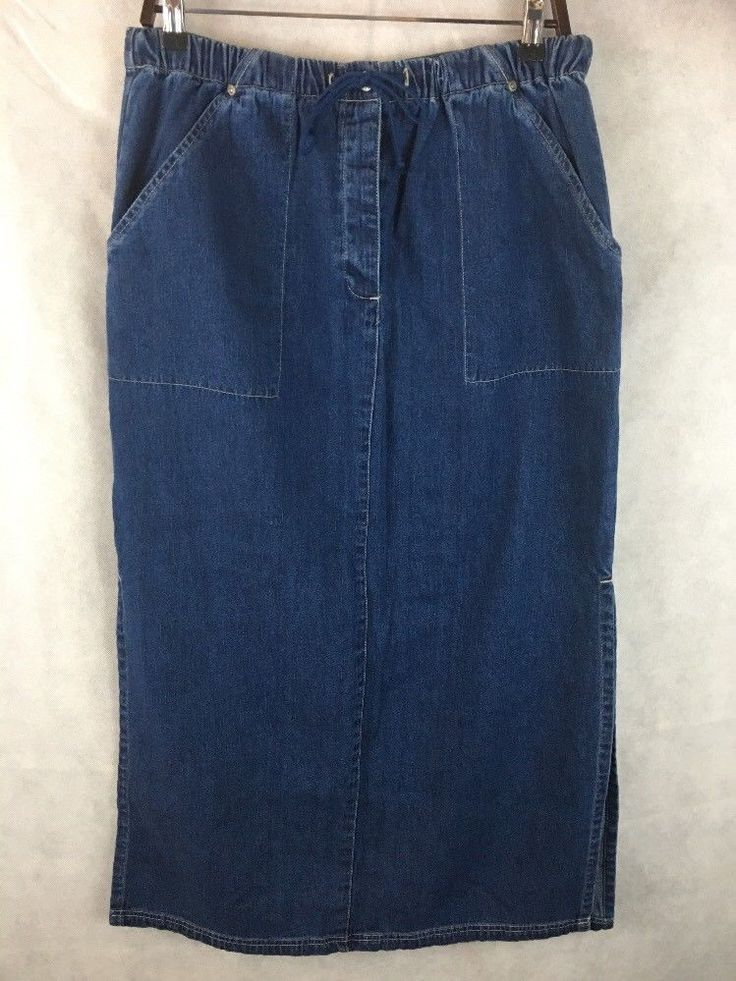 Paul Harris Denim Long Blue Jean Skirt Button Fly W Drawstring Waist SZ L