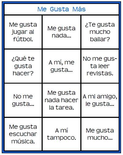 13 Best Gustar Images On Pinterest Spanish Class Spanish