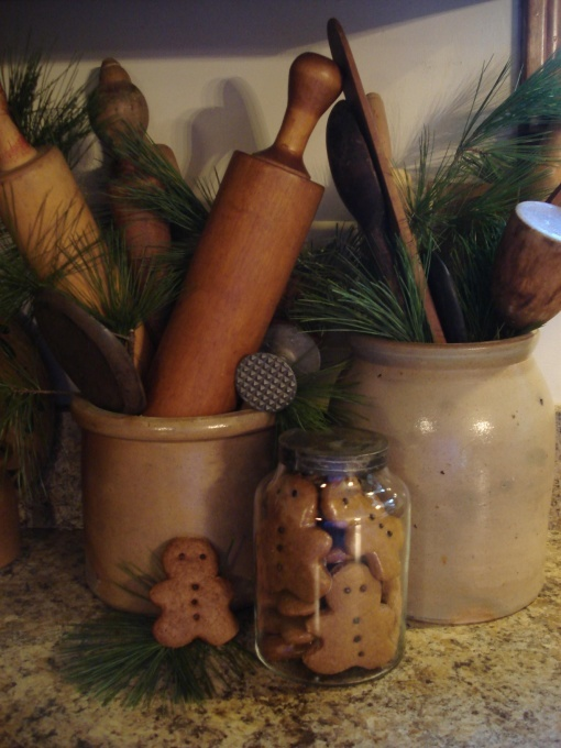 Great idea!  Add fresh greenery tucked into crocks, and among dishes to enliven your home in winter!