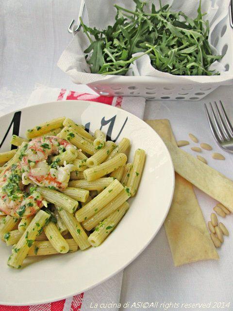 PASTA AL PESTO DI RUCOLA E GAMBERONI Ricetta primo piatto di pesce
