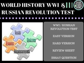 World War I and Russian Revolution Test  BOOK:  Prentice Hall World History The Modern World THE FIRST SEMESTER OF WORLD HISTORY THE WHOLE YEAR OF WORLD HISTORY  Here is what is included:  - WWI/ Russian Revolution Test / Quizzes- Paragraph Ideas - World History pacing Guide - 3 Essays for each unit- Common assessment - Review sheet / Test key *************************************************************************** - 1.