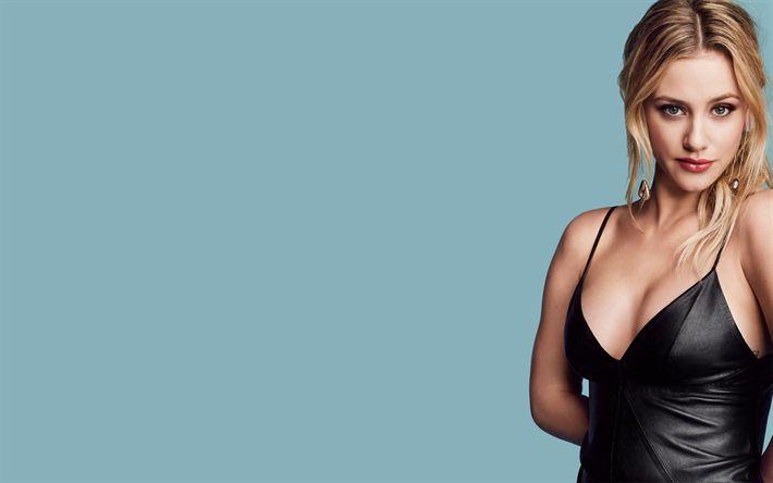 Download wallpapers Lili Reinhart, 2018, beauty, american actress, black dress, Hollywood, beautiful girls, blonde