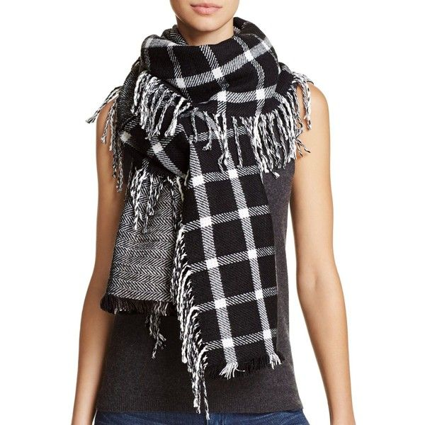 Aqua Pieced Side Fringe Scarf - 100% Exclusive ($46) ❤ liked on Polyvore featuring accessories, scarves, black, wrap scarves, fringe scarves, acrylic scarves, wrap shawl and fringe shawl