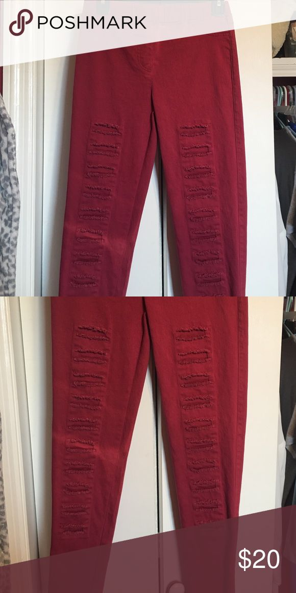 Skinny jeans Boutique maroon skinny jeans - perfect for spring Umgee Jeans Ankle & Cropped