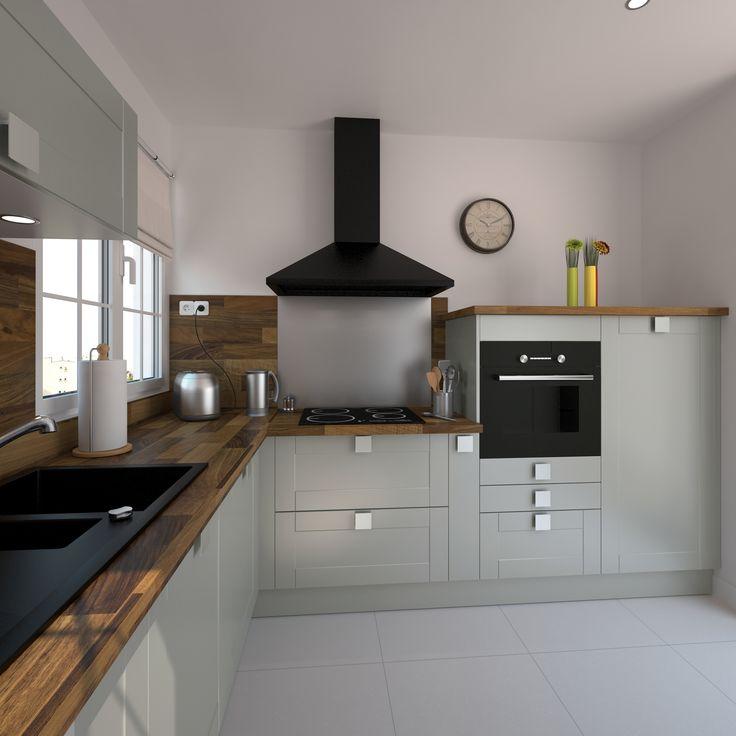 Cuisine équipée grise bois moderne FILIPEN Gris mat | Kitchens and ...