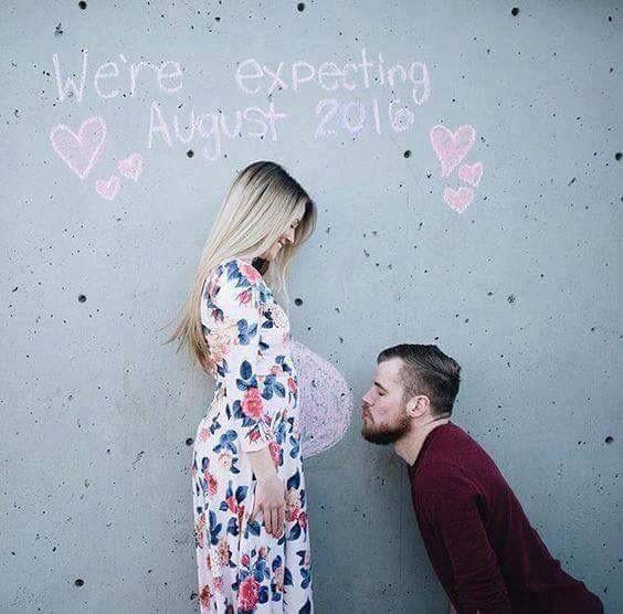 Cute chalk pregnancy announcement