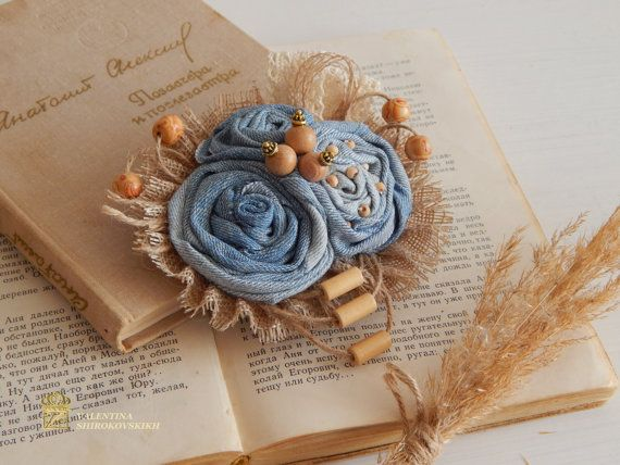 Beautiful Handmade Brooch. Jeans flower. Boho brooch. Flower Brooch. Denim brooch. Handmade fabric brooches. Fabric brooches and pins