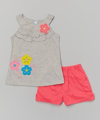 Gray Floral Yoke Tank & Pink Shorts - Toddler & Girls