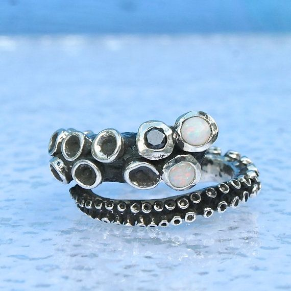 octopus tentacle ring sterling silver with 2 opals and a black diamond by zulasurfing made to order