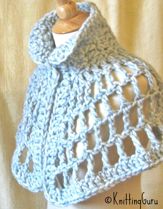 This cape is crocheted in a beautiful sky blue luxurious wool. Its warm, soft and comfortable to wear. Put this on and youll feel like youre
