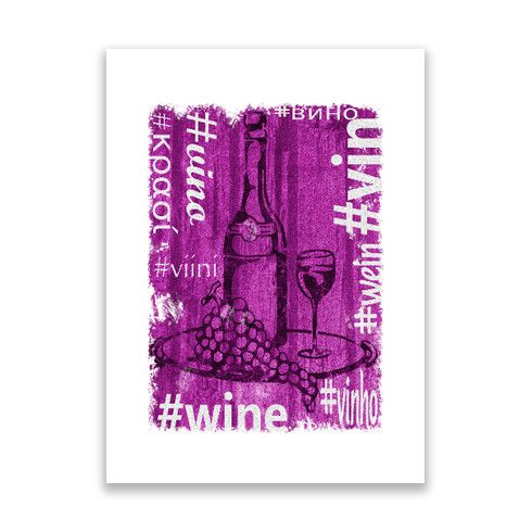Hashtag Wine Print @zippiuk  - A hand-drawn illustration is texturised, colorised and mixed with various translations of the word Wine.  This is one for all wine lovers. #wine #vino #wein #viini #vin #booze #plonk #poster #zippy