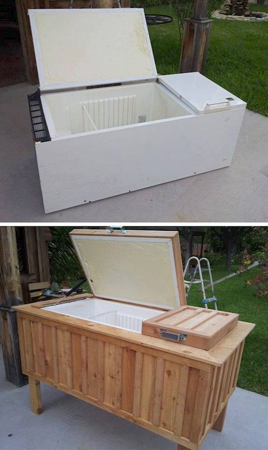 20 Unusual Furniture Hacks | Old fridge turned into an oudoor ice chest. So cool  - - - especially love the piano fountain and might actually make the wrapping paper cart!