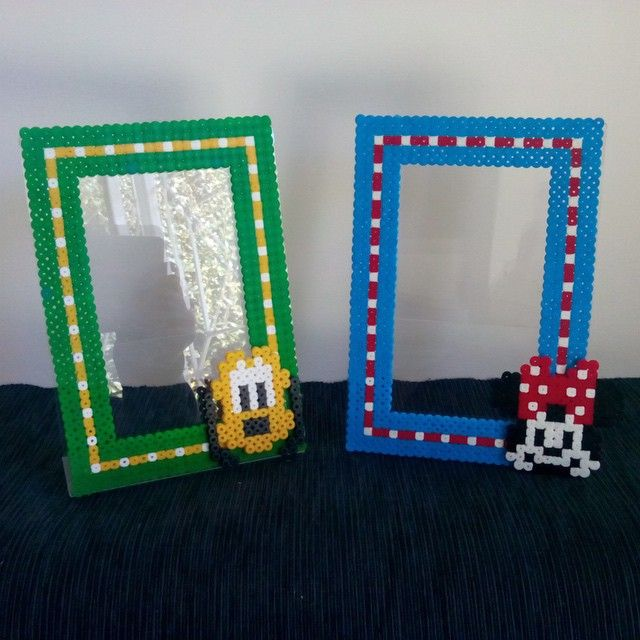 Pluto and Minnie Mouse photo frame hama beads by supercalifragilepagina