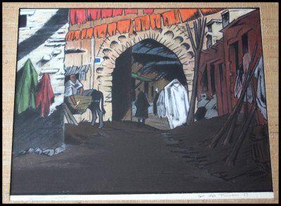 pastel le souk des teinturiers Georges Geo Fourrier , épreuve d'artiste datée de 1929 , format 40x30,5cm .