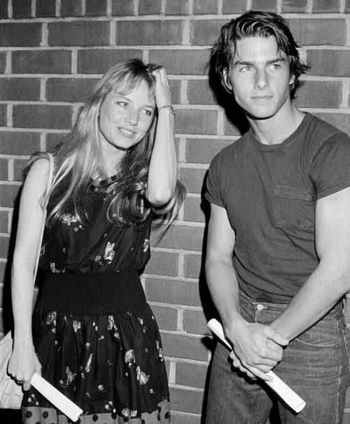 "Tom Cruise and Rebecca De Mornay on the set of the 1983 film ""Risky Business"""
