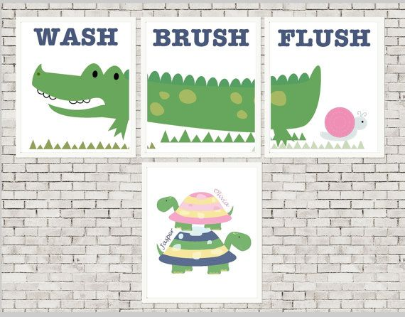 Kids alligator bathroom art turtle bathroom by PicabooArtStudio