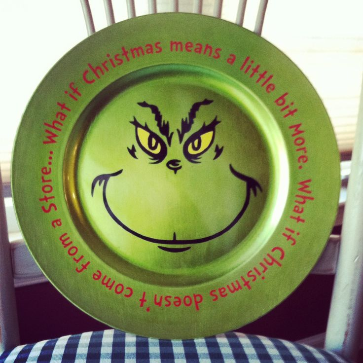 Vinyled Grinch Charger Plate