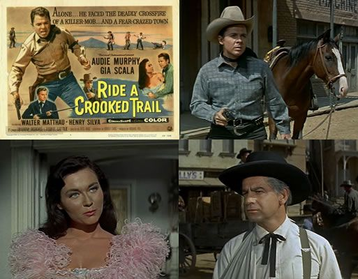 Ride a Crooked Trail (1958) Audie Murphy stars as a bank robber who is mistaken for a lawman and ends up enjoying life as a good guy when a drunk judge (Walter Matthau) makes him a town Marshal