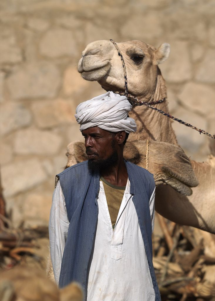 https://flic.kr/p/C88To | Man camel at Keren camel market, Eritrea | Every monday in Keren, takes place a giant market. Goats, sheeps, and camels are sold. Camels are also used to carry burning wood. Most of the men wear the turban, and look like sudanese people. The place is mainly muslim, and the mood is rather different from Asmara. Inside Keren, the old souq offers a typical arabic atmosphere. © Eric Lafforgue  www.ericlafforgue.com