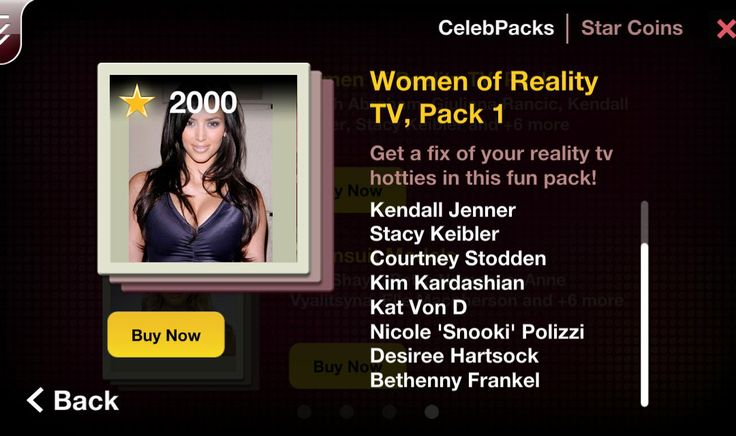 Get a fix of your reality tv hotties in this fun pack! From the Housewives to the Kardashians and Dancing With The Stars, the hottest women of reality tv can be yours with this CelebPack. Pack includes: Farrah Abraham Desiree Hartsock Giuliana Rancic Kendall Jenner Stacy Keibler Courtney Stodden Kim Kardashian Kat Von D Nicole 'Snooki' Polizzi Bethenny Frankel