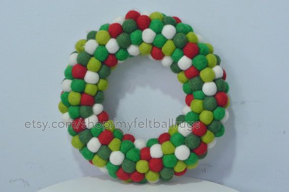 Felt ball wreathChristmas felt ball wreath crown by Myfeltballrugs                                                                                                                                                                                 More