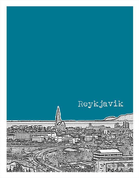 reykjavik iceland city skyline poster art print version 1