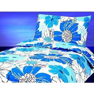 DELUXE FLANELOVÉ POVLEČENÍ 140x200 70x90 FLANELOVÉ POVLEČENÍ DELUXE - Modrý květ