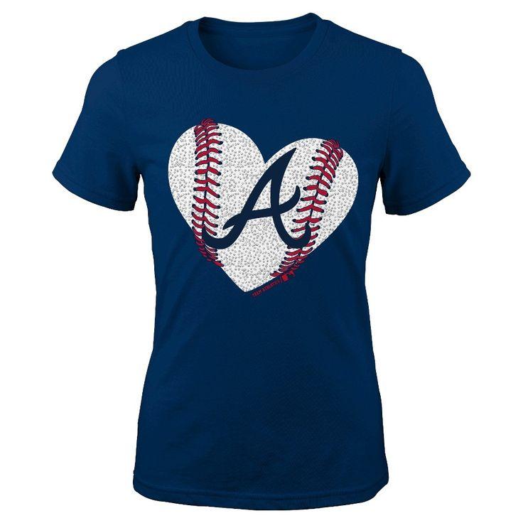 Atlanta Braves Youth Girls Crew Neck T-Shirt 6X, Kids Unisex, Size: Large, Blue