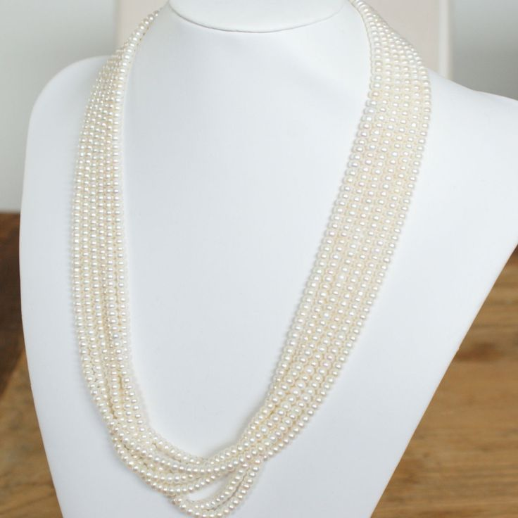c1960s 14k Solid Gold 6 Strand Pearl Necklace with ornate clasp by VintageJewelleryCo on Etsy