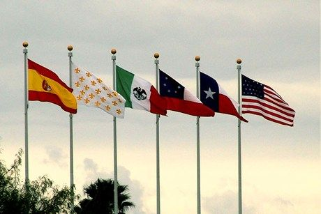 the six flags of Texas....Goliad, Tx flies 9 flags as they also had 3 flags of Texas independence
