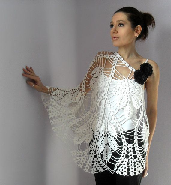 #Handmade Crochet Lace wrap shawl by Silvia66  Poncho for women  #2dayslook #new…