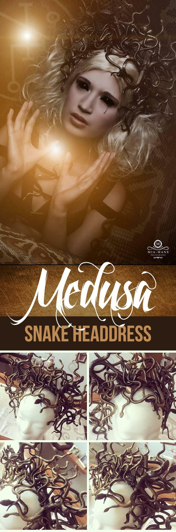 This headpiece is just stunning.  I love the bronzish colour and the individual snakes are interwoven so artistically. This is a must have to take any Medusa costume to the next level. #medusa #costume #headdress #fantasy #mythology #affiliate