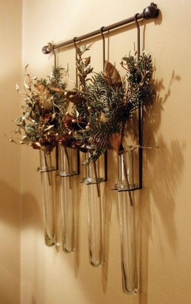 Curtain rod test tube flower vase for the wall