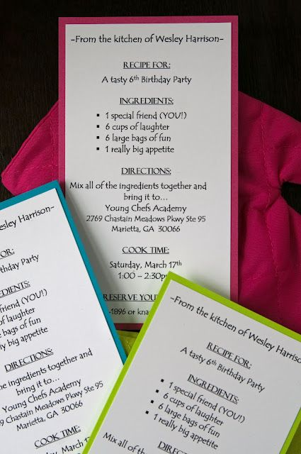 "(For when Anna gets older) Really cute ""recipe card"" invite for a cooking party"