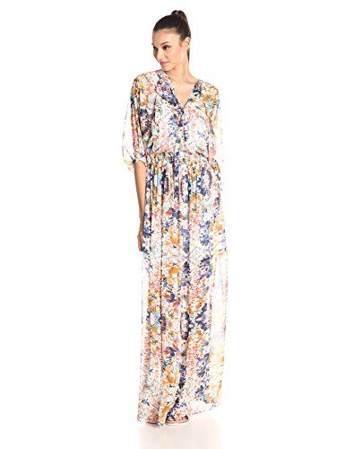 Rebecca Minkoff Women's Shadow Floral-Print Sleeved Maxi Dress